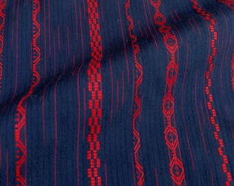 Navy Red Patterned Lines Kimono Wool Blend Vintage Fabric - BX016