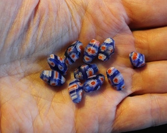10 blue millefiori glass beads, with red and white flowers 20 mm long, 8 mm wide, 1 mm hole