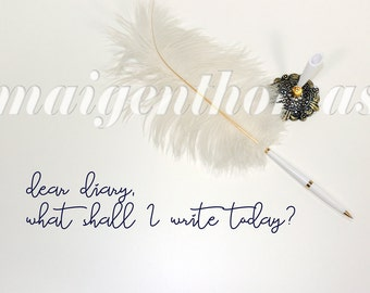 Styled stock photography - single white feather pen on plain background