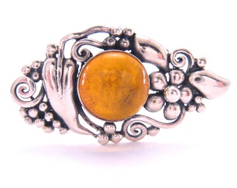 Amber Brooch Art Nouveau Revival | Sterling Silver | Fine Jewelry | Amber Cabochon Pin