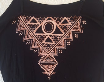 Fractal Inspired Bleach Henna Camisole - One-of-A-Kind Festival Wear