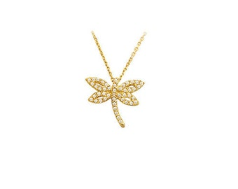 14K Solid Yellow Gold Drogonfly  Necklace OG091