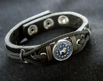 Leo Bracelet, Star Leo Jewelry for Men, Zodiac Sign Astrology, Lion charm Bracelet, Astrological, July - August