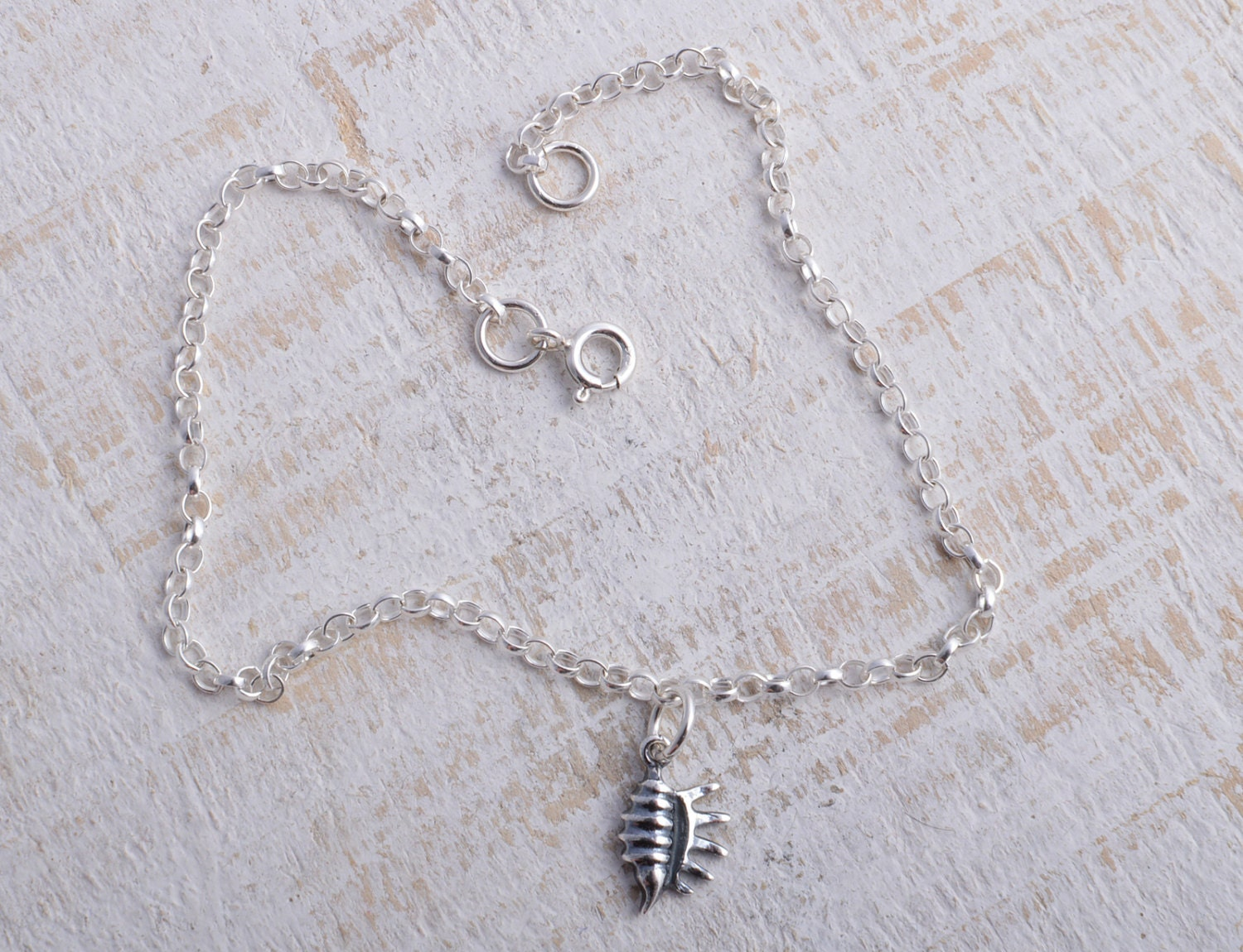 Sea Shell Ankle Bracelet Sterling Silver 925 Sea Shell Conch Shell