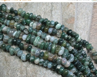 """15% OFF Moss Agate Nugget Beads - 16"""" Strand - Item B0576"""