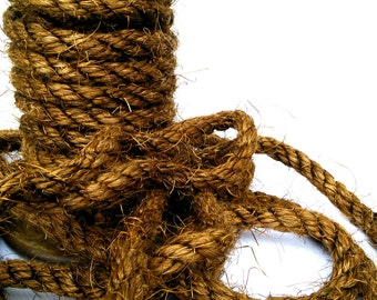 "50' Brown Sisal Rope, Dyed Bronze Color, 1/2"" OR 3/8"""