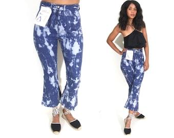 Vintage 70s High Waist Cropped Bell Bottoms Flares Blue Jeans Denim Pants Bleach Splash