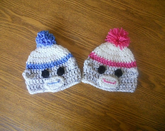 Hats for Twin Babies - Fans of the Sock Monkey
