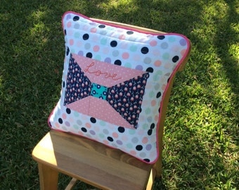 Quilted Pillow Cover /For girls / Birthday Present