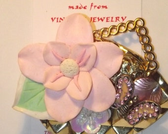 Flower / Butterfly theme,  1-of-a-kind Collage Brooch and/or Pendant made from vintage jewelry. Pink Spring Feminine. #60.
