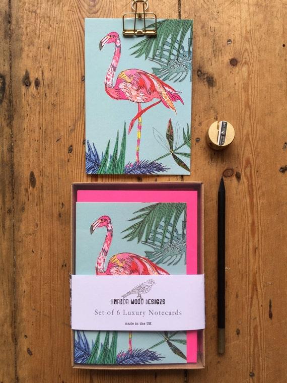 Flamingo notecards-set of 6- boxed