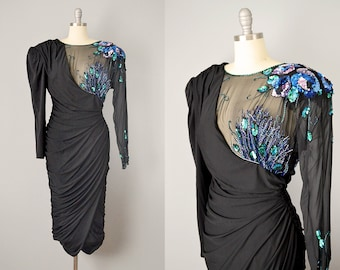 80s Dress // 1980's Asymmetrical Beaded/Sequined Ruched Black Silk Party Dress // M-L