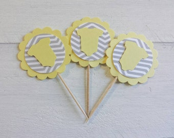 12 Light Yellow and Grey Chevron Onesie Cupcake Toppers-Toothpicks-Food Picks-Party Picks-Neutral Baby Shower