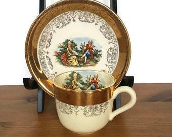 Vintage Sabin cup and saucer 22K Gold embellished collector tea set