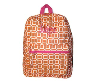 Personalized Back Pack - Orange and White, Monogrammed, Back Pack, BackPack, Back Packs, Girls Back Pack, Book Bag, Monogram