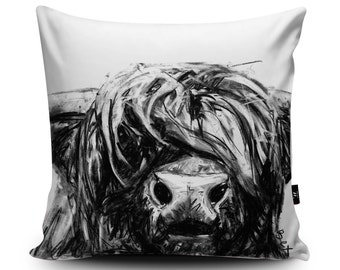 Highland Cow Cushion, Highland Cow Pillow, Buffalo Cushion, Buffalo Illustration Bedding, Cattle Cushion, Buffalo Pillow Vegan Suede Cushion