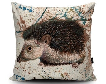 Hedgehog Cushion, Hedgehog Pillow, Hedgehog painting cushion Cover, Hedgehog drawing Pillow Case, Home Decor, Decorative pillow, 45/60cm