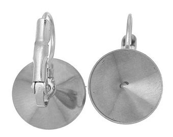 On Sale NOW 25%OFF Stainless Steel 304 Lever Back Earring Components With Setting For 12mm Rivoli Stone - Z3171 - Qty 1 ( 1 pair )