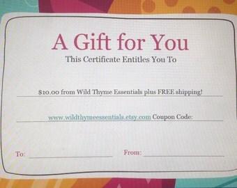 Gift Certificate 10 Dollars