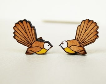 WOODEN STUD EARRING New Zealand fantail bird laser cut wood jewelry (laser cut earring  birds)