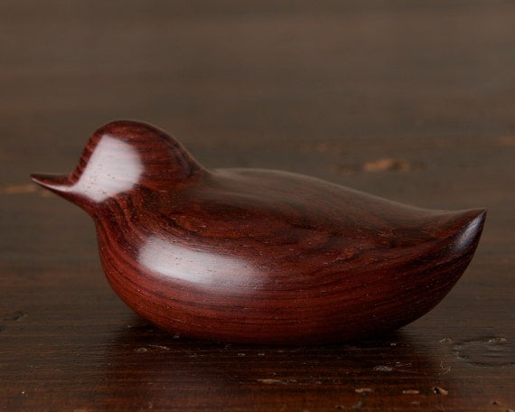 Wooden Duck Sculpture hand carved from Violet Rosewood by Perry Lancaster, Duck Figurine