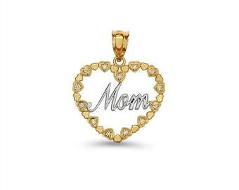 14k solid gold two tone diamond Mom Heart Pendant.