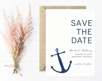 Anchor Save The Date, Modern Nautical Save The Date Cards in Navy Blue