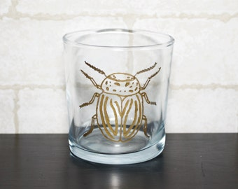 Hand-Painted Gold Beetle Rocks Glass