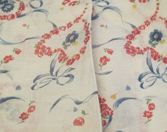 Hearts and Flowers Fine Vintage Cotton Lawn Fabric