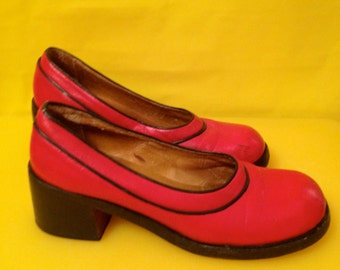 70's Red Leather Shoes Chunky Heel 7.5 USA