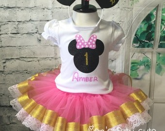 Minnie Mouse Birthday, Minnie Mouse birthday outfit, Minnie Mouse 1st Birthday outfit, Pink and gold tutu, Pink and gold birthday,