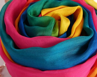 Gradient Color Silk Scarf - colorful Silk Chiffon Scarf - AS77