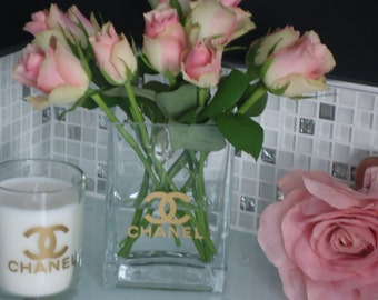 Chanel Inspired  Vase - choose your colour Pink, Gold & Black