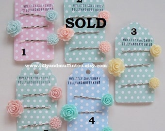 Acrylic Resin Flowers Bobby Pin Set. Flower Bobby Pins,Hair Grips,Hair Slides,Hair Pins,Hair Accessories.Wedding,Party Favor,Pastel Colours