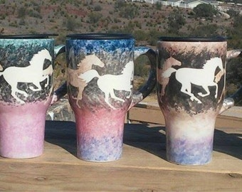 Travel Mug Running Horses