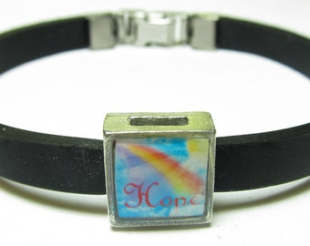 Hope Awareness Link With Choice Of Colored Band Charm Bracelet