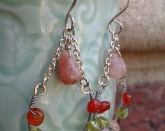 Sunstone, Carnelian & Peridot Earrings, Sterling Silver Dangles, Statement Jewelry, Bright, Sunshine, Bold Accessories, Natural Gemstones