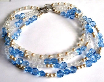 Swarovski Crystal Edelweiss Collection Four Strand Crystal & Pearl Necklace New