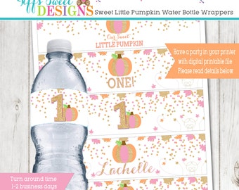 Our Sweet Little Pumpkin Birthday Party Water Bottle Wrapper