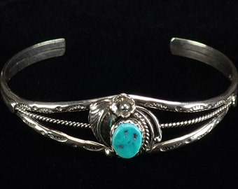 Vintage Old Navajo Bracelet Sterling Silver Turquoise 1970s Native American Estate Jewelry