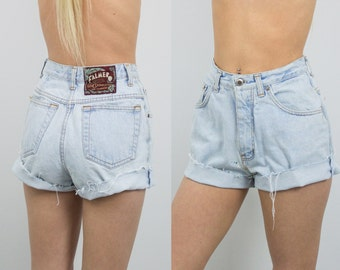 Vintage (Size XS) 1970s Distressed High Waisted Denim Shorts / High Waisted Shorts 410