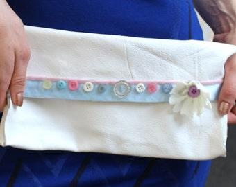 Handmade clutch purse white leather embellished flower boho