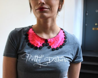 Alternative T-Shirt Dip-Dye PeterPan Collar Grey Candy Pink