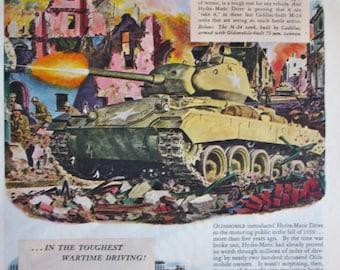 1945 ad M-24 Tank 73 mm Cannon Oldsmobile General Motors Vintage Print Ad ETK128
