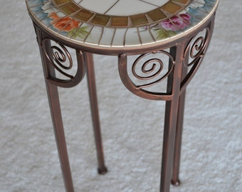 Vintage Broken China Mosaic Table Plant Stand
