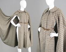 Vintage LANVIN HAUTE COUTURE 70s Maxi Cape Long Wool Cape Brown Houndstooth Print Designer Coat Fall Winter Coat Womens Outerwear Paris Coat