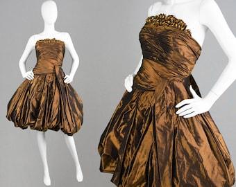 Vintage 80s JEAN LOUIS SCHERRER Couture Dress Puffball Dress Red Carpet Dress Evening Dress Designer Dress Bronze Shot Silk Taffeta Beaded