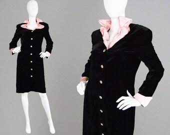 Vintage 80s ESCADA Black Velvet Coat Dress Art Deco Style Pink Silk Satin Collar Gothic Dress Wired Collar Steampunk Coat 1980s LBD Dress