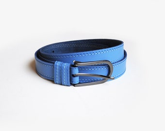 Sky blue leather belt, leather belt with two colour threads stitching. ALL SIZES