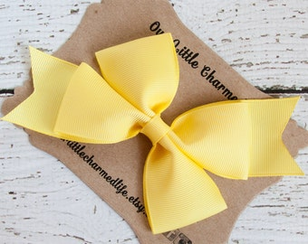 Pastel Yellow Hair Bow, Yellow Hairbow, Yellow Hair Clip, Easter Hair Bow, Toddler Hair Bow, 5 Inch Hair Bow, Yellow Bow